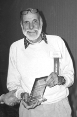 Dr. Philip S. Callahan, accepting award at Acres U.S.A. Annual Meeting, 1998 (Photo Courtesy of Acres U.S.A.